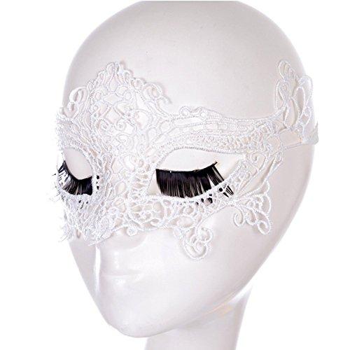 Sunfish Venezianische Lace Schnüren Masken Party Cosplay (weiß)