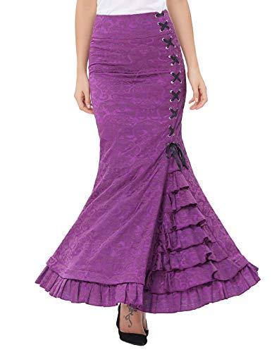 Damen Viktorianisch Hohe Taille Maxi Mermaid Abend Rock 38 Lila