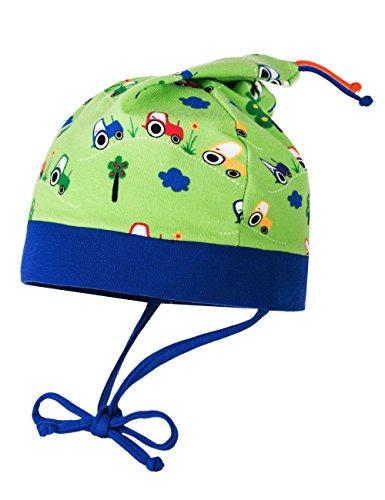 MaxiMo MINI-Zipfelmütze, bedruckter Jersey, Bindeband für Jungen und Mädchen je ein Motiv (47, apfelgrün mit Traktoren)