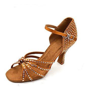 Scarpe da ballo-Personalizzabile-Da donna-Balli latino-americani-Quadrato-Scamosciato-Cammello Black/White