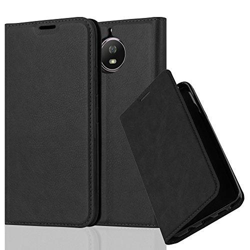Cadorabo Hülle für Motorola Moto G5S - Hülle in Nacht SCHWARZ – Handyhülle mit Magnetverschluss, Standfunktion und Kartenfach - Case Cover Schutzhülle Etui Tasche Book Klapp Style