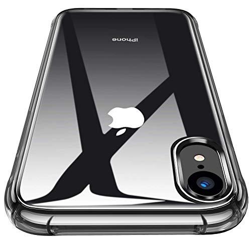 Garegce Coque iPhone XR + Verre trempé Protecteur écran, Housse Transparent Silicone Souple...