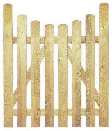 StaketenTür 'Premium' 100x120/100 cm - unten – kdi / V2A Edelstahl Schrauben verschraubt - aus getrocknetem Holz glatt gehobelt – nach unten gebogene Ausführung - kesseldruckimprägniert