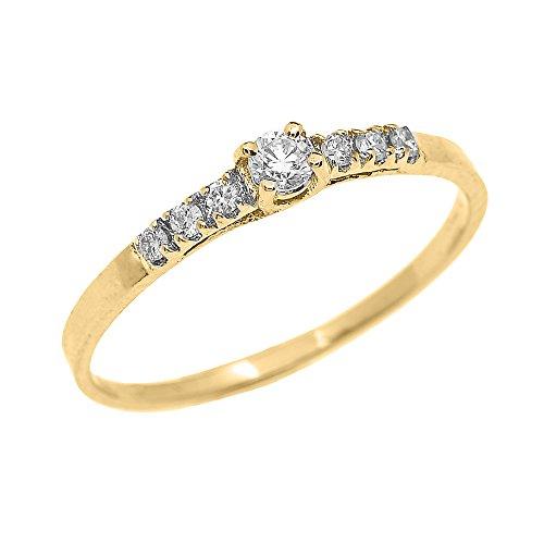 Super Bague Femme/ Bague De Fiançailles 10 Ct Or Jaune Diamant Finement  RI02
