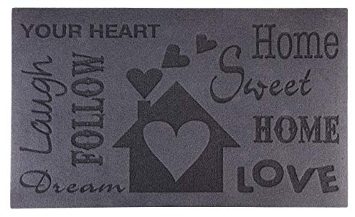 Esschert Design RB128 Relief-Türmatte Love, Pet, recyceltes PVC, 75 x 45 x 0.5 cm