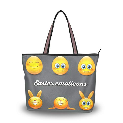 Emoya Tote Bag Cute Oaster Emoticons Egg Bunny Emoji Damen Handtasche Schultertasche L, Mehrfarbig - multi - Größe: Large
