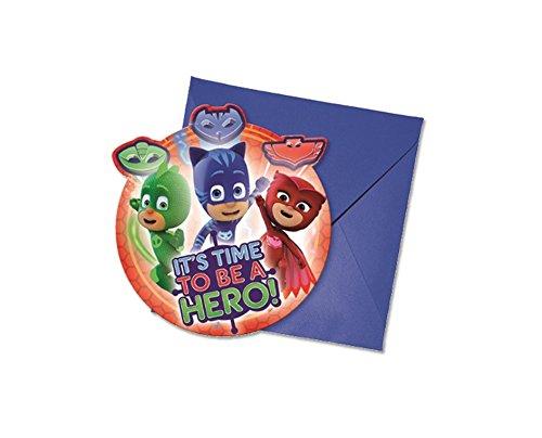 6 Stück PJ Masks Einladungskarten