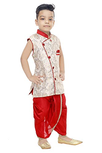 Generic Boy's Raw Silk Sleeveless Dhoti and Kurta Set (Multicolor, 2-3 Years)