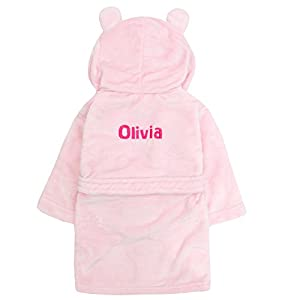 Embroidered Personalised Soft Baby Pink Dressing Gown Bath Robe with Teddy Ears 6 Months-5 Years (0-6 Months)