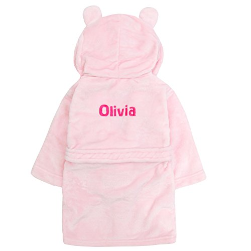 Embroidered Personalised Soft Baby Pink Dressing Gown Bath Robe with Teddy EARS 6-12 Months