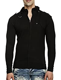 tees collection Men's Full Zip Buckle Neck Full Sleeve Black Colour T-Shirt