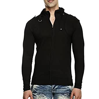 Tees collection men 39 s full zip buckle neck full sleeve for Full black t shirt