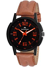 Swisstone REBL126-BLK Tan Leather Strap Analog Wrist Watch For Men