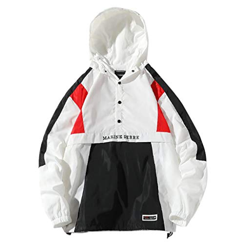 TWISFER Herren Kapuzenjacke Männer Windbreaker Oversize Übergangsjacke Herrenjacke Color Block Outdoor Pull-Over Jacket Leichtgewicht - Asiatische Koch Kostüm