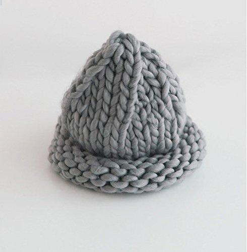 FQG*La marée coréen avec Ultra Bold main tricot laine Chapeaux Chapeaux filetage normal , Gris Gray