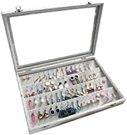 Beauenty Clear Lid Earrings Organizer Holder Velvet Jewelry Tray Display Showcase Storage 32 Pairs Earring Box