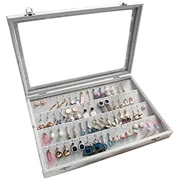 Adjustable Jewelry Display Organizer Box Tray Holder Earring Storage Case HD