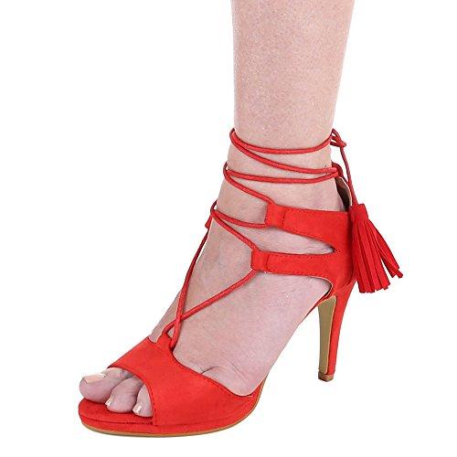 Damen-Schuhe Sandaletten | elegante High-Heel mit Stiletto Absatz in verschiedenen Farben und Größen | Schuhcity24 | Pumps mit Schnür Verschluss | in Wildlederoptik Rot