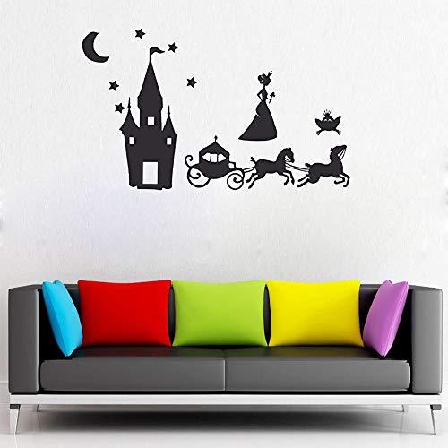 Namefeng Wandaufkleber Märchen Prinzessin Aufkleber Set Burg Wagen PVC Wandkunst Raum Aufkleber Babys Mädchen Tapete Dekoration 57X61 cm (Baby-mädchen-dekorationen Raum Für)