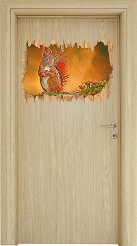 süßes Eichhörnchen mit Nuss Holzdurchbruch im 3D-Look , Wand- oder Türaufkleber Format: 62x42cm, Wandsticker, Wandtattoo, Wanddekoration