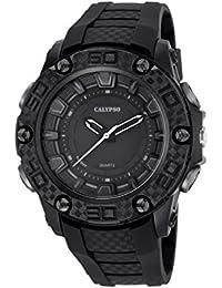 Calypso–Reloj de hombre de cuarzo con Negro esfera analógica pantalla y correa de plástico en color negro k5699/8