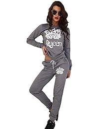 5bcd5a125d39 YOUJIA Damen Gedruckt Jogginganzug Sportanzug Sporthose Fitness  Freizeithose Sweatshirt Pullover Trainingsanzug 2pcs