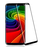 Galaxy S8 3D Curved Glass Screen Protector,MisVoice [3D Curved Fit]Full Coverage Tempered Glass Screen Protector [High Definition] Bubble Free+Full Coverage Anti-scratch 9H Hard Back Film[Black Frame]