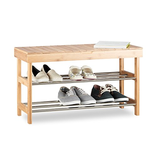 Relaxdays Schuhregal mit Sitzfläche, Bambus Schuhschrank f. 6 Paar Schuhe, Sitzbank m. Stauraum...
