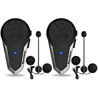Excelvan 2×Auriculares Intercomunicador Bluetooth BT-S3 para Casco de Motocicleta Moto Intercom Headset
