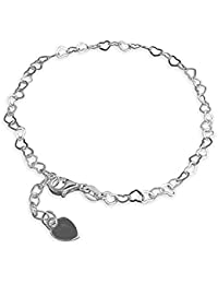 Small Chain Of Continuous Small Open Hearts Sterling Silver Anklet - Adjustable 8.5