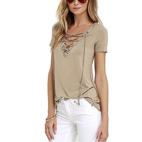 Butterme Damen Frauen reizvolle Beiläufige V-Ansatz Kurze Hülse Schnüren Sich Oben Verband T-Shirt Blusen Oberseiten T-Stücke Khaki