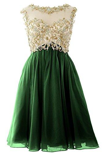 MACloth Women Cap Sleeve Gold Lace Chiffon Short Prom Homecoming Dress Ball Gown Dark Green