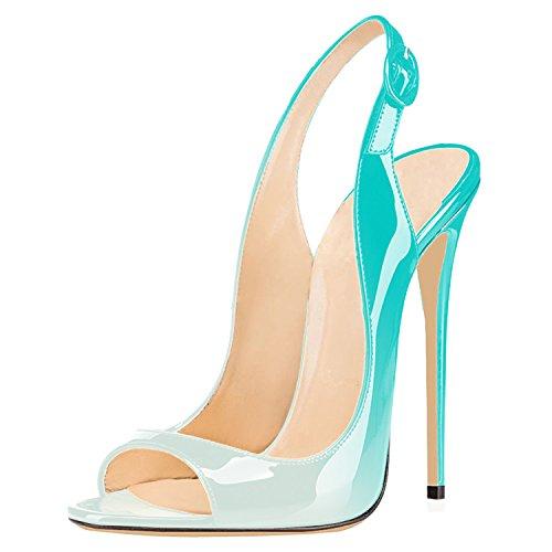 uBeauty Damen High Heels Peep Toe Sandalen 120MM Stiletto Slingback Pumps Open Toe Klassischer Übergröße Schuhe Hellgrün 44 EU