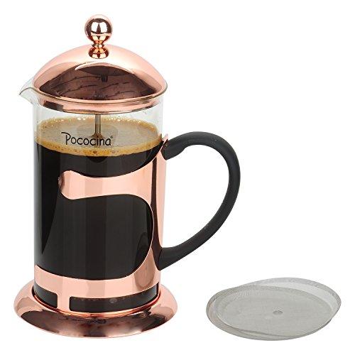 Pococina Eleganter French Press Kaffeebereiter, Kaffee- und Teekanne mit Edelstahlfilter - Kapazität: 1 L / 4-6 Tassen Rose Gold