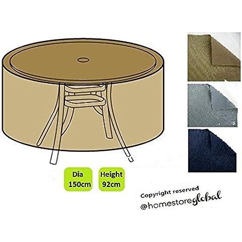 HomeStore Global Funda para grande mesa de jardín círcular – Gruesa y de alta calidad durable 600D poliéster de la lona con costuras cosidas doble para la fuerza adicional, muy duradera y resistente a la humedad - Color: Marrón