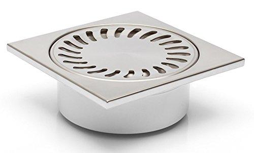Bodenablauf-Duschablauf in Edelstahl-150x150mm - DN 50 -Superflach - 55mm Einbautiefe - Geruchsverschluß - (320-N)