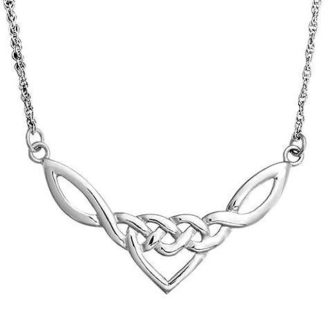 Bling Jewelry 925er Sterlingssilber Celtic Love Knot Herz Halskette 18 Zoll