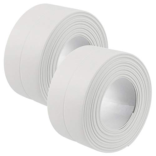 Lystaii Dichtungsband für Badezimmer, Küche, WC, Dusche, Badewanne, Wand, Boden, Fliesenversiegelung, wasserdicht, weiß, 38 mm x 3,2 m, 2 Stück