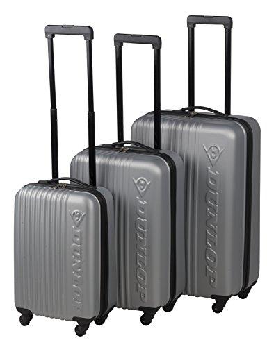 DUNLOP Hartschalen-Koffer Trolley Rollkoffer Reisekoffer Handgepäck 4 Rollen (M-L-XL-Set) Silber
