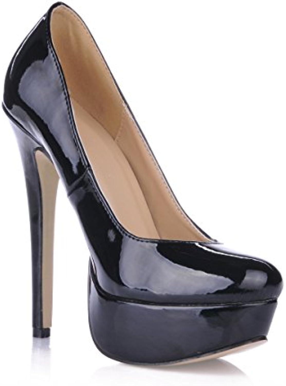 cliquez sur les femmes tombent dans de nouveaux produits dans tombent la lo tête ronde chaussure de femme Noir  pearl waterproof desktop bien des chaussures à talons hauts b07589tr2p parent 588404