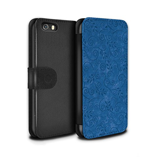 Stuff4 Coque/Etui/Housse Cuir PU Case/Cover pour Apple iPhone SE / Pourpre Design / Motif Feuille Remous Collection Bleu