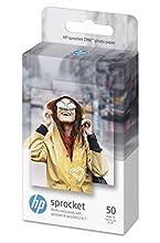 HP 1DE37A Zink Carta Fotografica Autoadesiva per HP Sprocket e HP Sprocket 2 in 1, Grammatura 258 g/m², Bianca 5 x 7.6 cm, 50 fogli