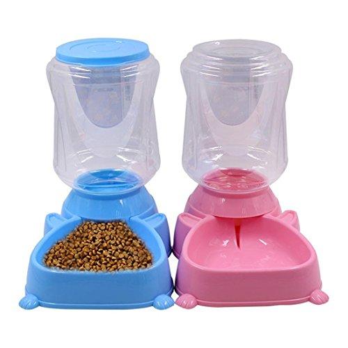 Schalen Wasser Essen Spender, Zum Klein Mittel Groß Hund Katze Trinken Essen Hündchen Kätzchen Gericht Wassermann, 4L, 1 Pack , Blue , Feeder (Tunnel Trinken)