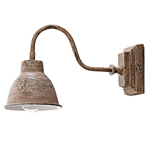 Loberon Wandlampe Iggy, Eisen, H/B/T 18/12 / 31,5 cm, antikbraun, E14, max. 25 Watt, A++ bis E -