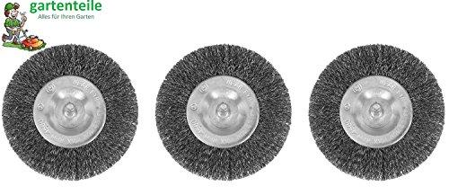 3er Set Fugenbürste passend für Akku Fugenbürste gartenteile AFB 1810 4010 Metall/Draht / runde Drahtbürste/Metallbürste
