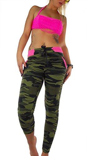 Damen Soft Jogging Hose Camouflage, Größe:M/L, Farbe:Schwarz (Sexy Camo Outfits)