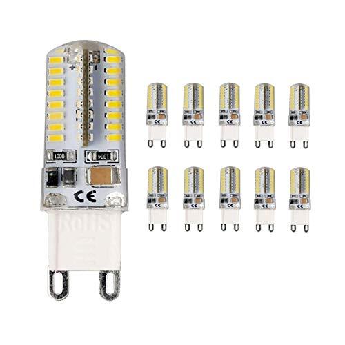 Vlio, LED-Leuchtmittel, G9,4W,SMD, 3014 x 64 LEDs, entspricht 30-W-Halogenlampe, 300 lm, Kaltweiß, 360-Grad-Abstrahlwinkel, energiesparend, Kapsel, 220 – 240V, 10Stück