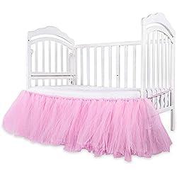 Per Faldones para Cuna de Bebés Ropa de Cama de Chifon Infantiles 132x40cm Falda para Mesa de Fiesta Multifuncionales