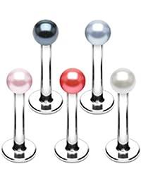 LOT 5 piercing lèvre, labret boule immitation perle tragus oreille monroe madonna medusa 1.2x8x3 effet metalisé