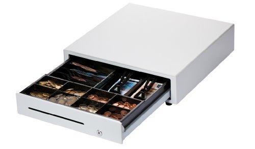 DIGIMEX Professionelle Kassenlade, 6 Scheinfächer (2 liegend und 4 stehend), 8 Münzfächer, weiss, Robuste Frontöffnung Kassenschublade, Standardanschluss für Kassendrucker